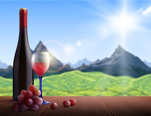 Realistica bottiglia di vino e vetro con montagne