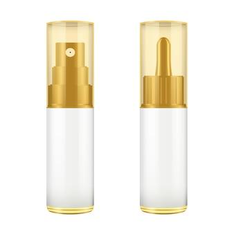Realistica bottiglia marrone e bianca con coperchio dorato.