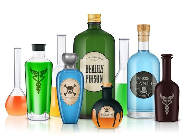 Realistica composizione di bottiglie di veleno con tubi di vetro e vasi pieni di liquidi colorati