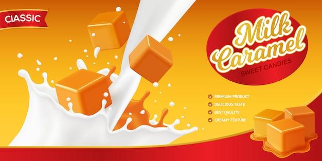Realistica composizione di poster di caramello con marchio modificabile e immagini di schizzi di latte e cubetti di caramelle