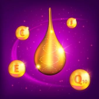 Realistica composizione goccia di olio di collagene supremo con piccole vitamine d'oro