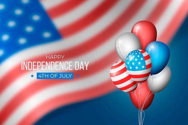 Realistica giornata dell'indipendenza con palloncini
