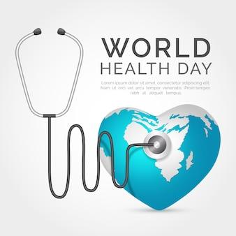Realistica giornata mondiale della salute con il pianeta a forma di cuore