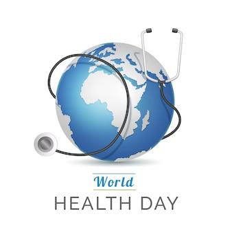Realistica giornata mondiale della salute con il pianeta e lo stetoscopio