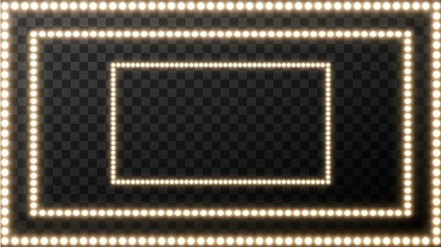 Realistica lampadina retrò in piazza. insegna di film d'ardore con la lampadina dorata con spazio in bianco per testo.