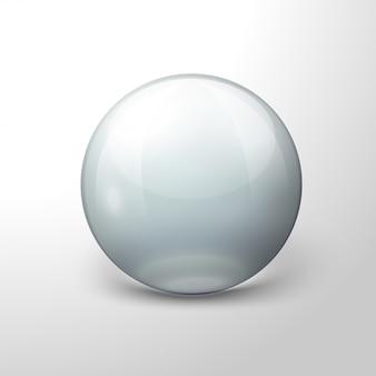 Realistica palla trasparente vettoriale, su sfondo bianco.