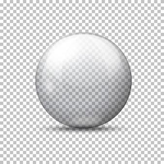 Realistica palla trasparente vettoriale, su sfondo plaid.