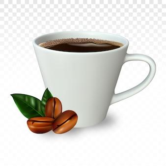 Realistica tazza di caffè con chicchi di caffè.
