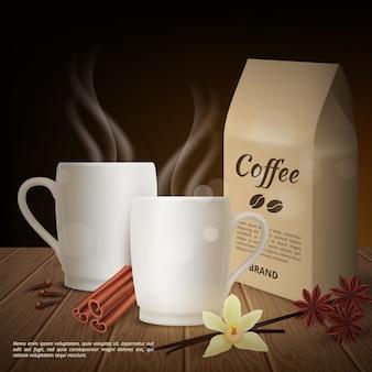 Realistica tazza di caffè e condimenti di fondo