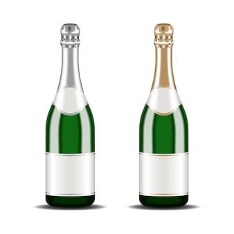 Realistiche bottiglie di champagne 3d con foglia argento e oro