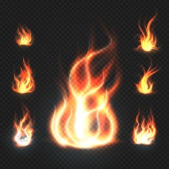 Realistiche fiamme di fuoco arancione e rosso
