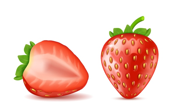 Realistiche fragole mature rosse, intero e mezzo isolato su sfondo.