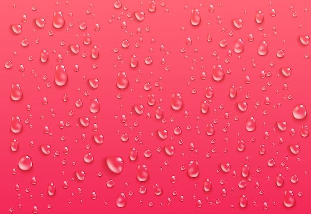 Realistiche gocce d'acqua trasparenti. goccioline condensate pure su sfondo rosa brillante. superficie bagnata e liquido trasparente formato da condensa. illustrazione.