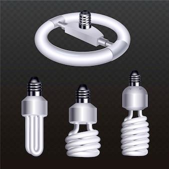 Realistiche lampadine d'argento su sfondo trasparente