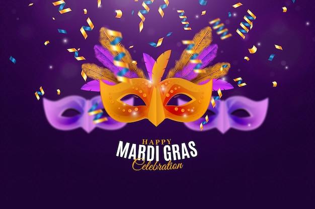 Realistiche maschere mardi gras con coriandoli