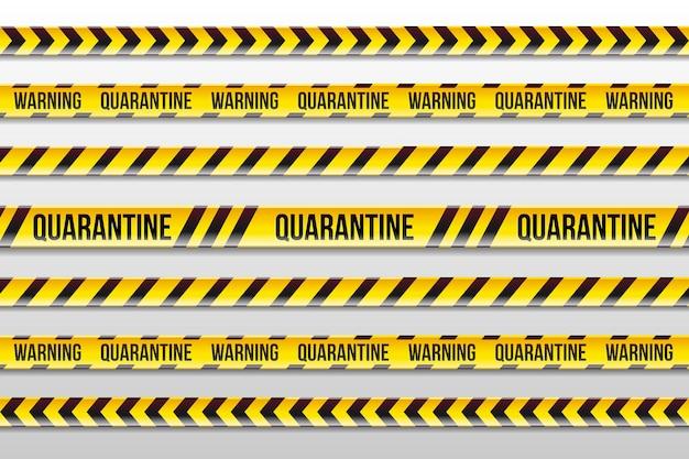 Realistiche strisce di quarantena di avvertimento gialle e nere