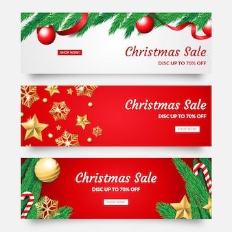 Realistici banner di vendita di natale