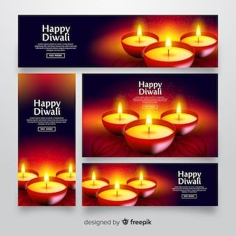 Realistici banner web diwali con candele
