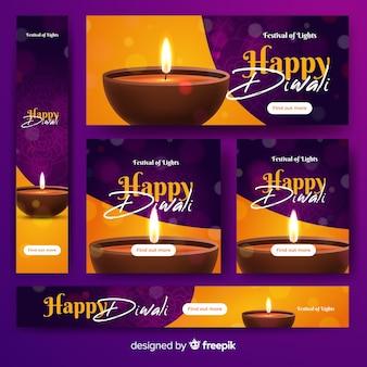 Realistici banner web diwali