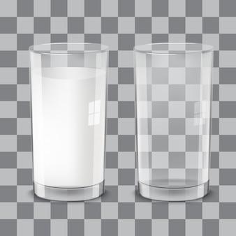Realistici bicchieri di latte trasparenti