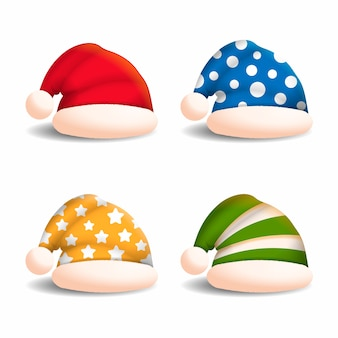 Realistici cappelli colorati di personaggi natalizi