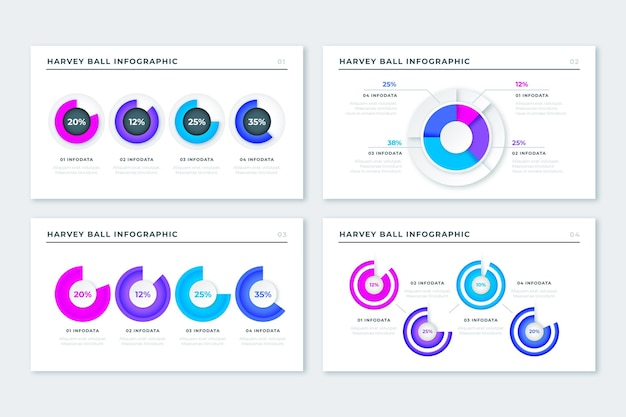 Realistici diagrammi a sfera harvey - infografica