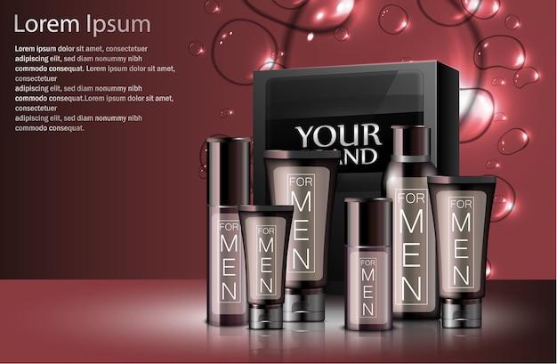 Realistici diversi tipi di cosmetici maschili con confezione