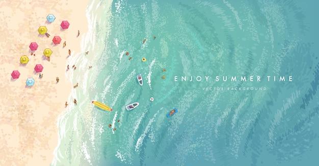 Realistici elementi estivi su uno sfondo di spiaggia