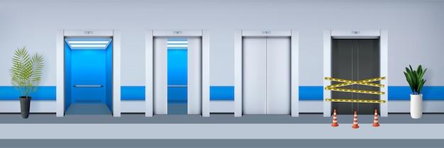 Realistici set di ascensori per ufficio