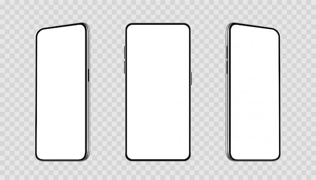 Realistici set smartphone con diverse angolazioni