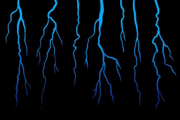 Realistick lightning impostato su sfondo nero scuro. illustrazione.