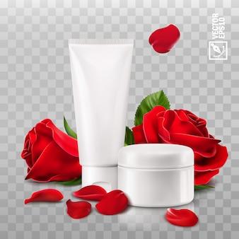 Realistico 3d isolato del barattolo e del tubo con crema cosmetica, i fiori ed i petali di rosa rossa