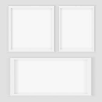 Realistico 3d quadrato e cornici rettangolari