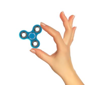Realistico 3d silhouette di mano con spinner