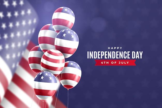 Realistico 4 luglio festa dell'indipendenza palloncini sfondo