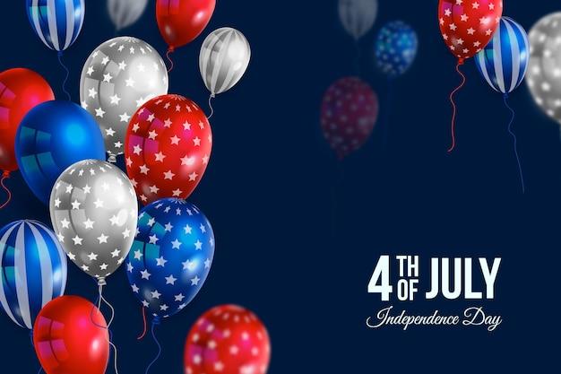 Realistico 4 luglio - festa dell'indipendenza palloncini sfondo