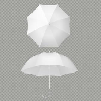 Realistico bianco degli ombrelloni e dell'ombrello isolato su bianco.