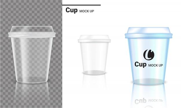 Realistico bicchiere trasparente prodotto per imballaggi in plastica e logo