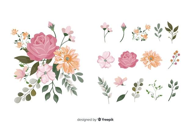 Realistico bouquet di fiori 2d