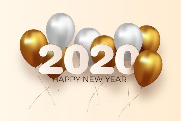 Realistico capodanno 2020 palloncini sullo sfondo