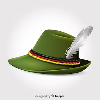 Realistico cappello più oktoberfest con pennacchio