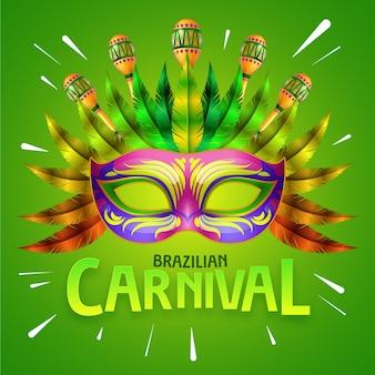 Realistico carnevale brasiliano con maschera con piuma