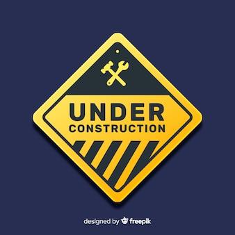 Realistico cartello stradale in costruzione