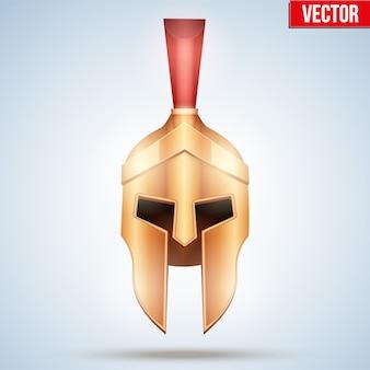Realistico casco spartan e gladiator. elmo d'oro attico guerriero con cresta di cavallo. vista frontale. illustrazione