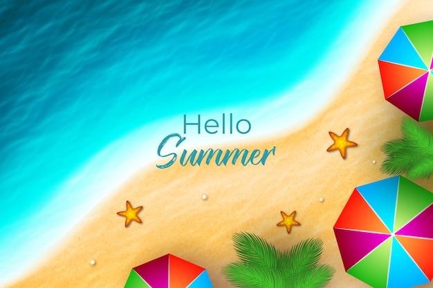 Realistico ciao estate vista dall'alto spiaggia