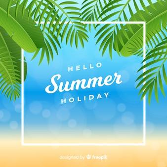 Realistico ciao sfondo estate in spiaggia