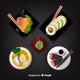 Realistico cibo gustoso raccolta di piatti