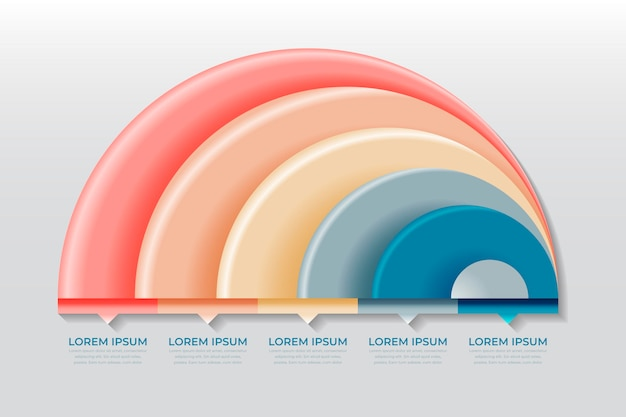 Realistico concetto di infografica radiale