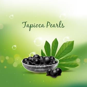 Realistico concetto di perle di tapioca