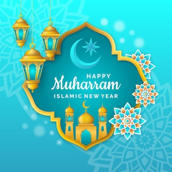 Realistico concetto di poster islamico di nuovo anno